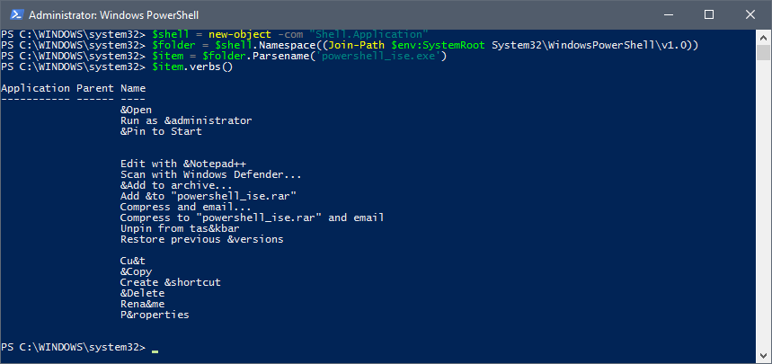 Powershell verb