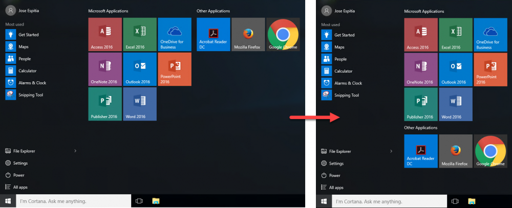 Compare Start Menu Layouts