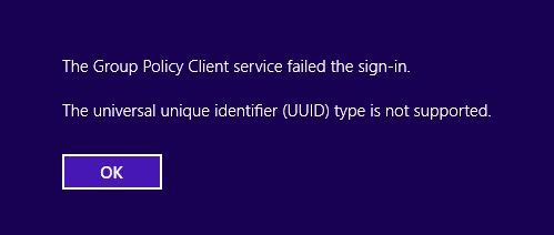 The universal unique identifier (UUID) type is not supported